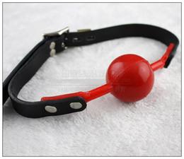 sexo bola vermelha Desconto Nova boca aberta bondage vermelho sílica gel bola mordaça paixão flertando BDSM boca gags produto do sexo brinquedos