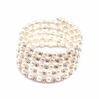 Wholesale Cheap Silver Charm Bracelets - Shining 5 Row Rhinestone Pearls Stretch Bangle Fashion Bracelet Cheap Wedding Party Jewelry