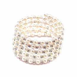 Wholesale Cheap Charm Sets - Shining 5 Row Rhinestone Pearls Stretch Bangle Fashion Bracelet Cheap Wedding Party Jewelry