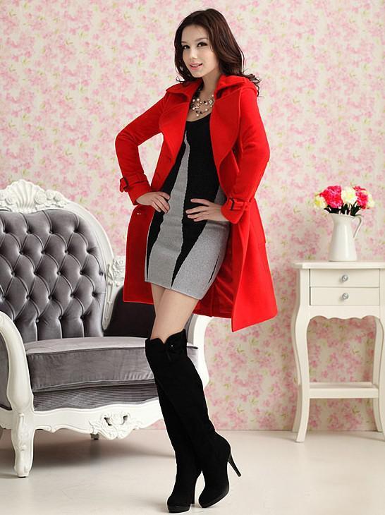 Sumptuosity Autumn Winter Women's Red Double-Breasted Wool Woollen Overcoat Coats
