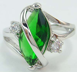 Wholesale Green Gemstones Women Rings - Free Shipping! New Fashion Elegant women mens lovers wedding ring 2.52ct Emerald gemstone ring diopside rings solid 14k white gold