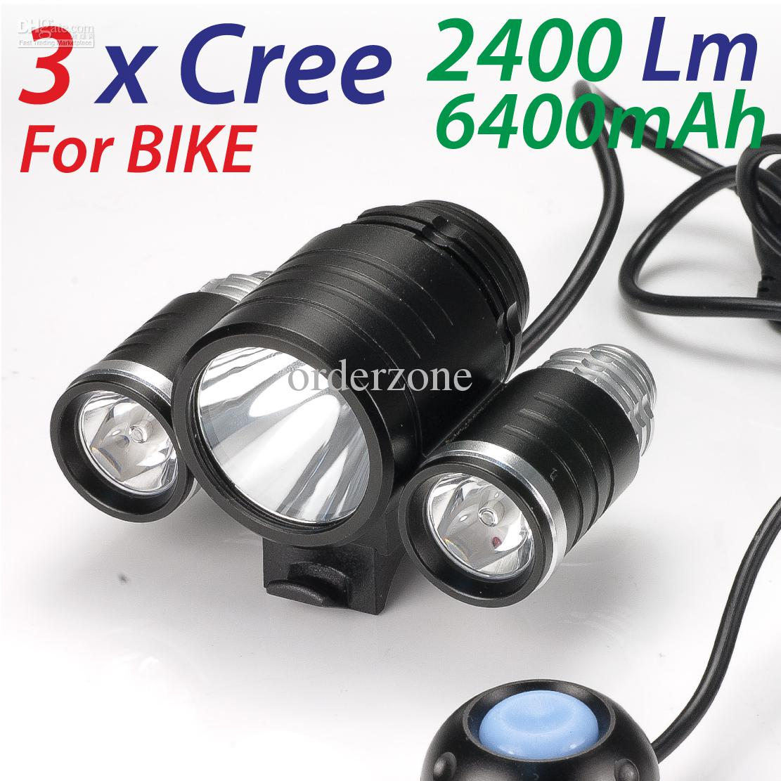 3x Cree Xm L T6 Led 2400lm Bike Bicycle Light Lamp Head Lamp Head