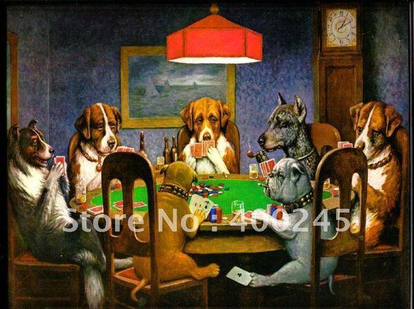 Moderne Ölgemälde-Leinwandkunst Hunde, die Schürhaken durch C.M. Coolidge handgemacht Hochwertige Home Deko