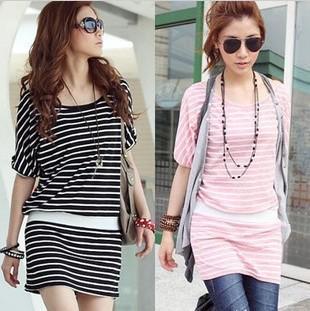 Korea Fashion Women Casual Dresses Round Neck Short Sleeve Mini