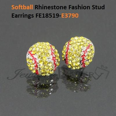 usa softball sports red stitching yellow crystal earrings stud