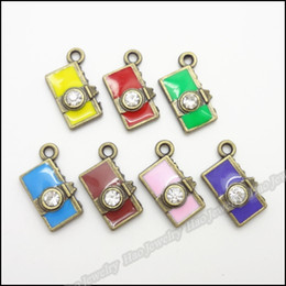Wholesale Camera Charms Jewelry - Mixing Charms Crystal Camera Pendant Antique bronze Fit Bracelet Necklace DIY Metal Jewelry 140pcs