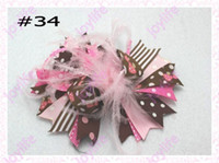 Wholesale Wholesale Funky Hair Bows - free shipping 20pcs fashion boutique girl hair bows feather bows popular funky hair bows\