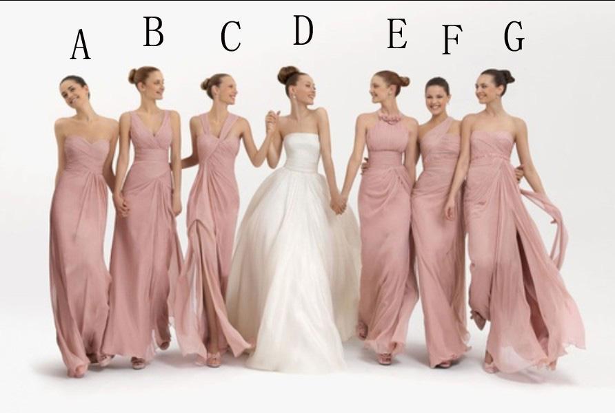 New Hot Pearl Pink Chiffon Floor Length 6 Styles Bridesmaid Dresses ...