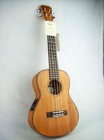 ukulele pickup großhandel-Tom Electric Ukulele Two Band Pickup mit Mahagoni Korpus Aquila String Free Bag
