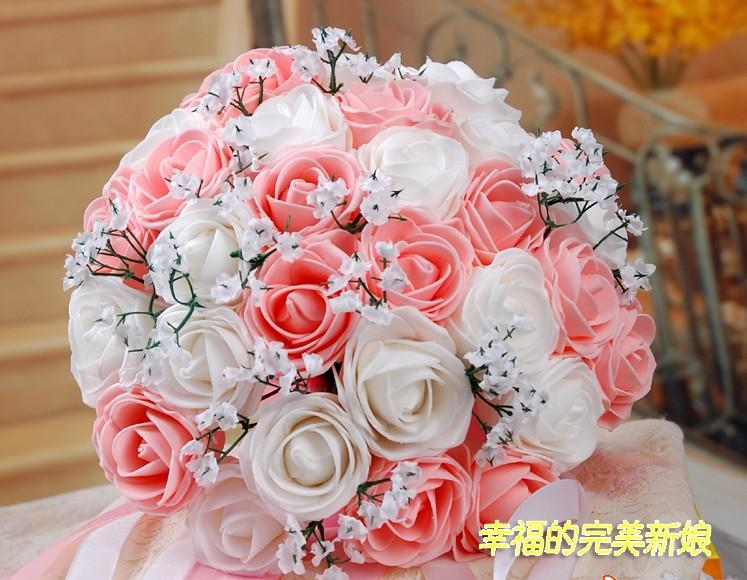Beautiful Wedding Bouquet Artificial 30 Rose Flowers Pink Bridal