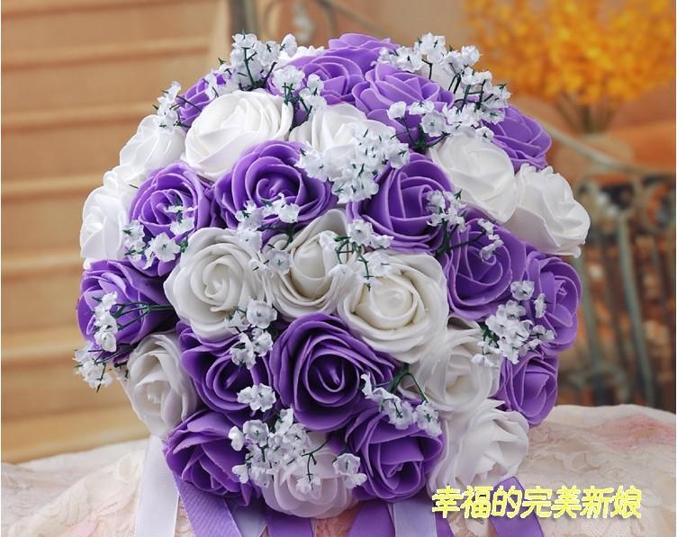 Beautiful Wedding Bouquet Artificial 30 Rose Flowers Purple