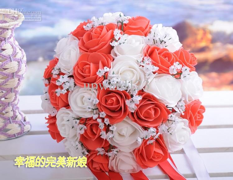 Beautiful wedding bouquet artificial 30 rose flowers peach red beautiful wedding bouquet artificial 30 rose flowers peach red bridal bouquets 456hk how to preserve wedding flowers red and white wedding flowers from mightylinksfo