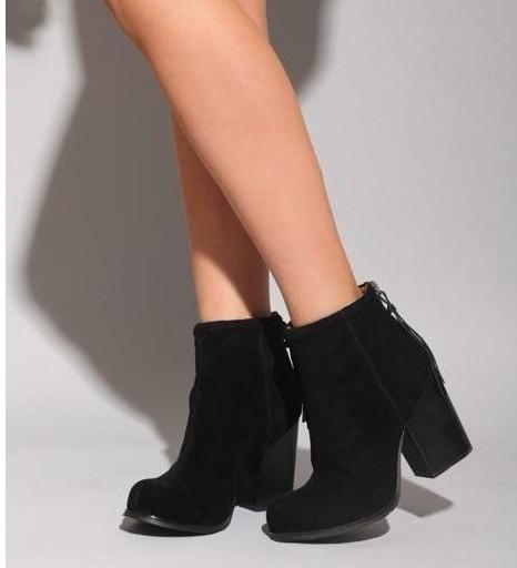 Jeffrey Campbell Black Rumble Thick Heel Suede Ankle Boots Brown ...