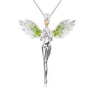pendentif anges achat en gros de-Charmant collier aile d'ange avec pendentif en cristal complet livraison gratuite LM-N017