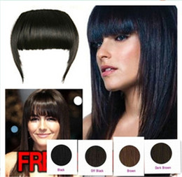 Wholesale Bang Clip Human - 1 piece 100% Human Hair Extension Clips in Bang Hair Side Fringes 4 colors available remark you want