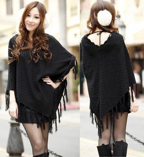 여성 판쵸 스웨터 여성용 Tassels 풀오버 랩 스웨터 가을 겨울 망토 케이프 코트 겉옷 Pashmina Shawl