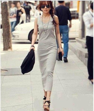Vestido de Slim Longo preto Lady's Backing Saia de Moda Pinafore Vestido Longo Vestido Casuais Frete Grátis