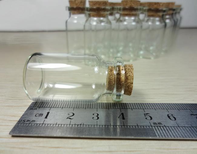 2000x Clear Glass Wishing Bottle Flaskor med Cork 40mmx22mmx18mm Bröllop Favoriter Gratis Shipping