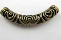 Wholesale Hollow Charm Spacer - MIC 15 Pcs Antiqued Bronze Hollow Curved Tube Spacer Beads Charms 14x52.5mm DIY Jewelry