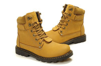 Wholesale Cowhide Top Boots - Men leather boots Martin boot top end cowhide waterproof wedge boots outdoor hiking boot top good yellow free shipping