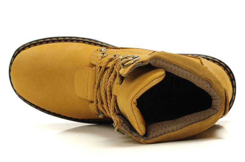 男性レザーブーツマーティンブーツトップエンド牛革防水ウェッジブーツアウトドアハイキングブーツトップトップグッドイエロー送料無料