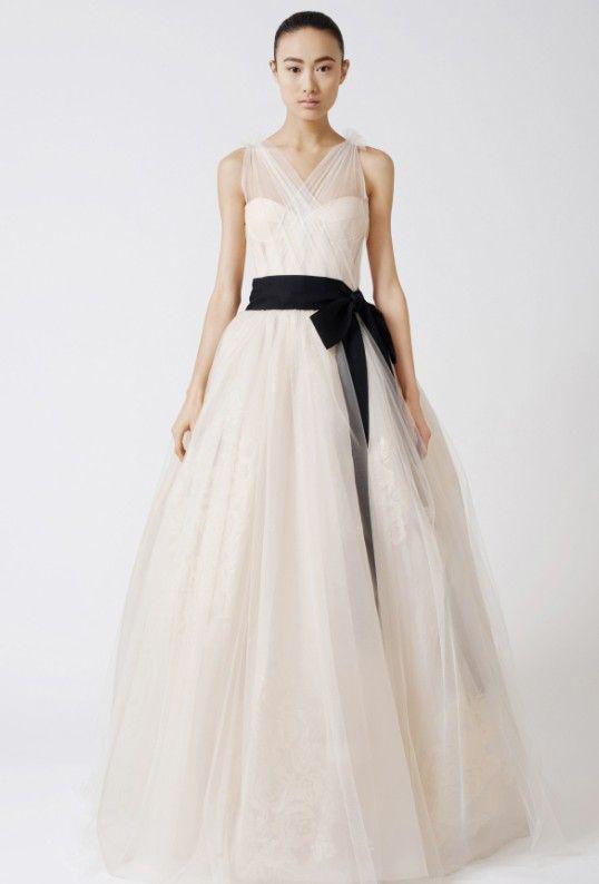 Discount a line v neck tulle black belt sash custom white for White wedding dress with black sash