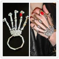 Wholesale Skeleton Hand Bones Bracelet - Red stone Punk Goth Skeleton Hand Bone Talon Ring Hoop Cuff Bracelet Lady Gaga