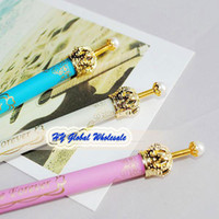 Wholesale Free shiping NEW Fancy Crown ball pen Princess Pen Stationery ball point pen office and study gift