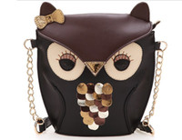 Wholesale Owl Shoulder Bags Women - Luxury women owl cartoon PU leather bag Cross body shoulder bags handbag totes jessie06