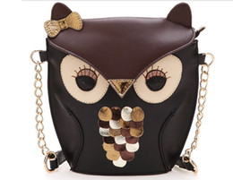 Wholesale Owl Leather Bag - Luxury women owl cartoon PU leather bag Cross body shoulder bags handbag totes jessie06