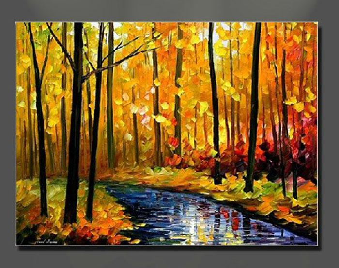 oil painting canvas autumn landscape scenery river yellow home