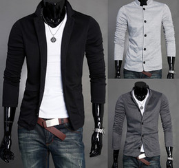 Wholesale Mens Gray Blazers - 2017 Mens Slim Blazers Designs Suits For Men One Button Stand-up Collar Korean Jackets For Men Knitted