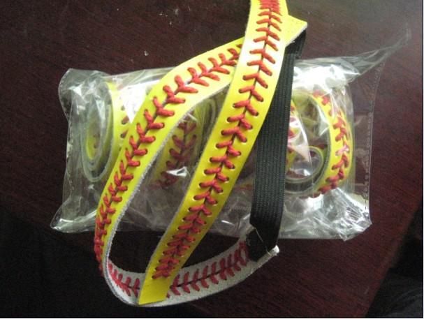 2018 년경 소프트볼 hotsale 시즌 미국 hotsale 스타일 빨간색 스티치 노란색 소프트볼 가죽 headbands