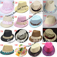 Wholesale Canvas Kids Fedora - kids canvas fedora boys and girls jazz cap party hat baby fedoras with straw kids top hat child autu