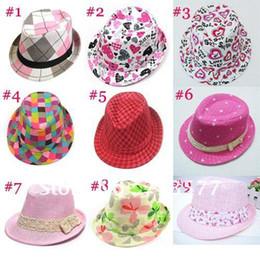 Wholesale Dicers Fedora Hats - Baby hats Jazz cap Kids top hat Children canvas fedora hat Fedoras Dicers Girls headgear 10pcs BH082