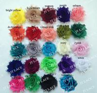 "Wholesale Mini Rosettes For Headbands - free shipping 1.5"" mini shabby chiffon flower trim rosette trim 40 yards 24 colors for selection"