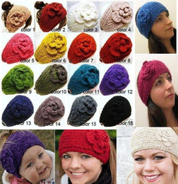 Wholesale Pink Green Head Bands - Classical style and handmade knitted women or kids head bands crochet flower hairwear,can mixed ,CPA
