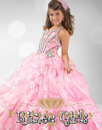 Wholesale Embroidered Green Wedding Gown - 2017 Pink Halter Flower Girl Dresses Beaded Embroidered Bodice And Keyhole Back Kids Formal Wear Ruffled Skirt Organza Pageant Girl Dresses