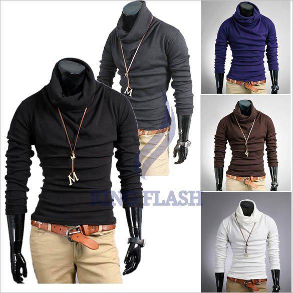 Korea Men's Casual Slim Fitting Dress Shirts Long Sleeve Cotton T ...