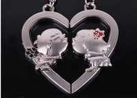 Wholesale Personalized Couple Gifts Alloy - Personalized Couple Keychains Alloy Heart Keychain valentine's day gift for lover Novelty item