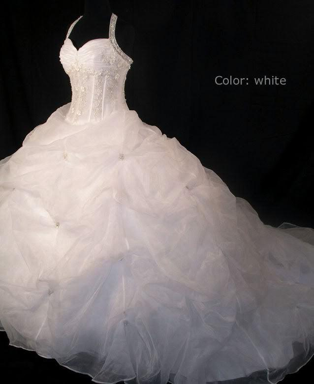 Discount Halter Beads Organza Wedding Dress Long Cathedral Train ...