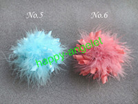 """Wholesale Marabou Hair Bows Wholesale - New fashion Girl 3.5 """"marabou feather Corker Hair bows korker Bow Clip flower 200 pcs lot lovely"""