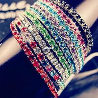 Wholesale indian bang wholesale - 50pcs single row rhinestone bracelet stretch bracelet multicolor bracelet fashion bang