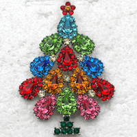 rhinestone jewelry christmas tree brooch NZ - Fashion Brooches Wholesale Pear shaped Crystal Rhinestone Brooch Pin Christmas Tree Brooches Christmas Gift Jewelry Accessories C919