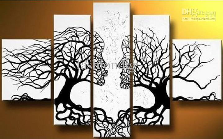 Acheter abstrait noir blanc peinture À l huile couple love tree