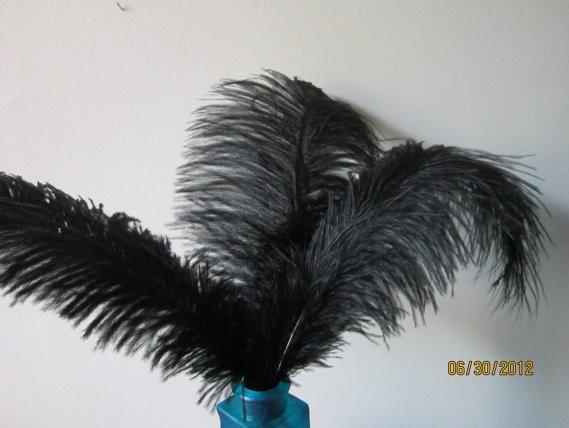 Préfet noir Plume d'Autruche Pure Black 12-14inch 30-35cm Pièce maîtresse pour mariage Pièce maîtresse de table Décoration de fête de Noël