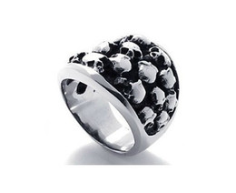 Wholesale Titanium Skull Mens Rings - Exclusive men's rings titanium stainless steel cluster skull ring punk mens jewelry
