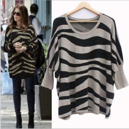 2018 Women's Classic Fit Warm Zebra Print Loose Baggy Sweaters ...