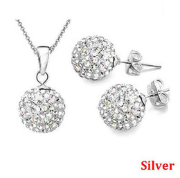 Wholesale Crystal Disco Ball Jewelry Set - 10mm crystal clay AB disco ball pendant necklace earring studs jewelry set mix color wholesale
