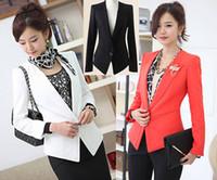 Wholesale Korean Spring Tunics - Korean Women Clothing Plus Size Lady Elegant Collarless Ruffle Tunic Suit Jacket Blazers Spring Autumn Coat Outerwear